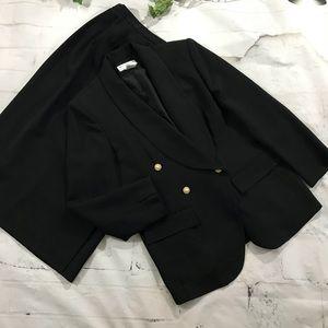 Black Saville size 10P lined skirt suit